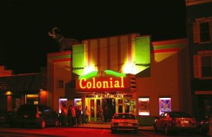 Facade of the Colonial Theater in Belfast Maine