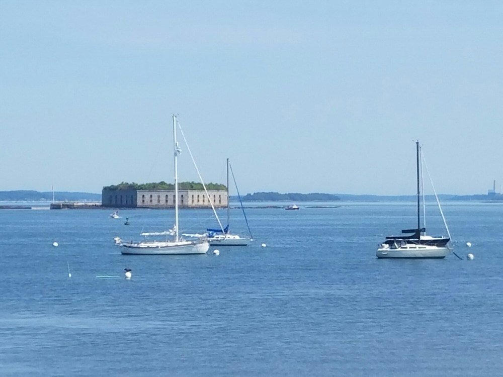 Looking across the bay at Fort Gorges