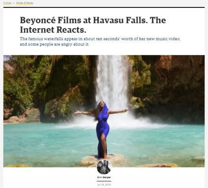 Screen shot from news article
