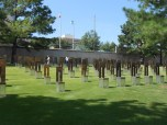 The 168 victims are memorialized by these empty chairs. Each has a name. There are smaller chairs for the children.