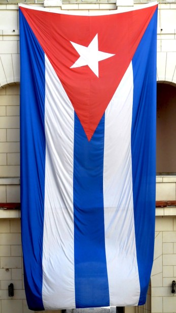 The Cuban flag, hung in the Museum of the Revolution. It was about 25-30 feet long.