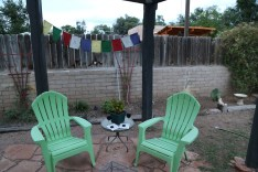 Our back patio - each night relaxed with wine and Mo, the crazy dog!