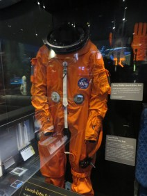Launch Entry Suit, developed after the 1986 Challenger tragedy, provides fire and cabin air loss protection