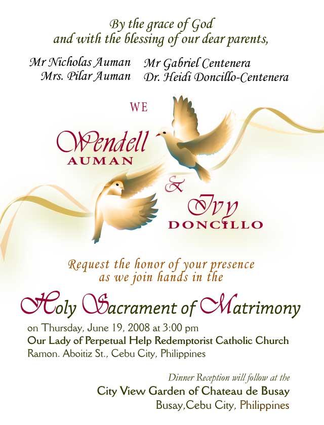 Wedding Invitation Templates Philippines – Sample Marriage Invitation Cards