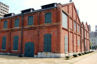 Old red brick factory buildings
