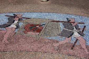 Tile art along the park