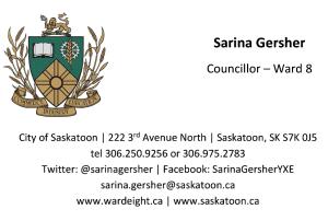 Sarina Gersher, Ward 8 City Councillor