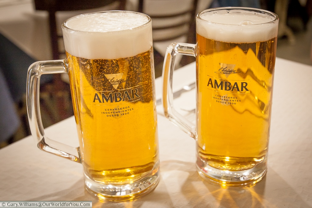 A couple of large glasses of Ambar Beer at Casa Paquito, Valencia, Spain