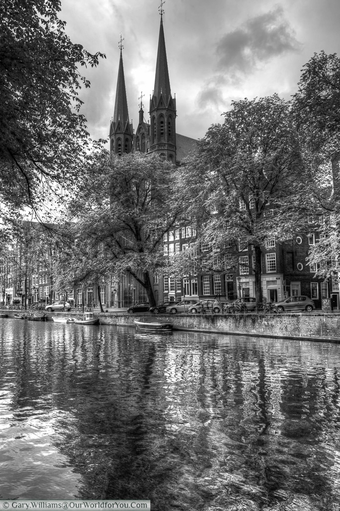 De Krijtberg Church across the Singel canal, Amsterdam, The Netherlands