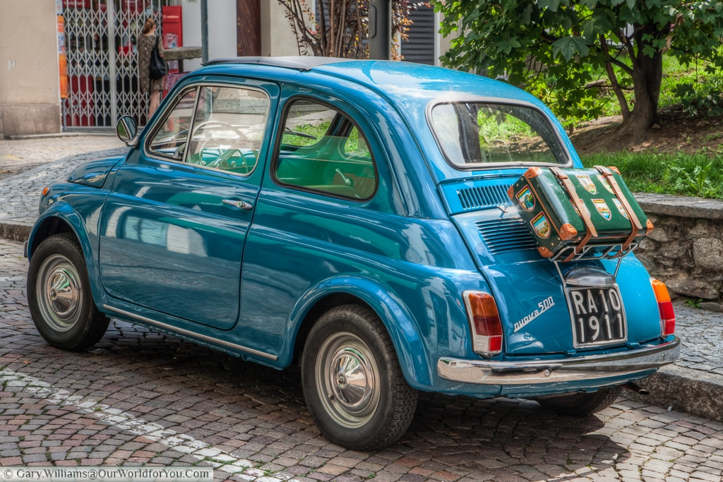 A classic Fiat 500, parked up in  Stresa, Lake Maggorie, Italy