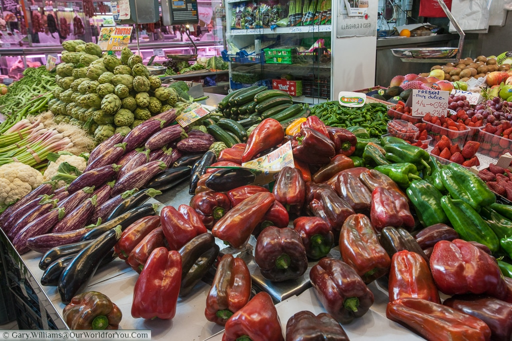 Large vegetables on display in the Mercado Central, Valencia, Spain