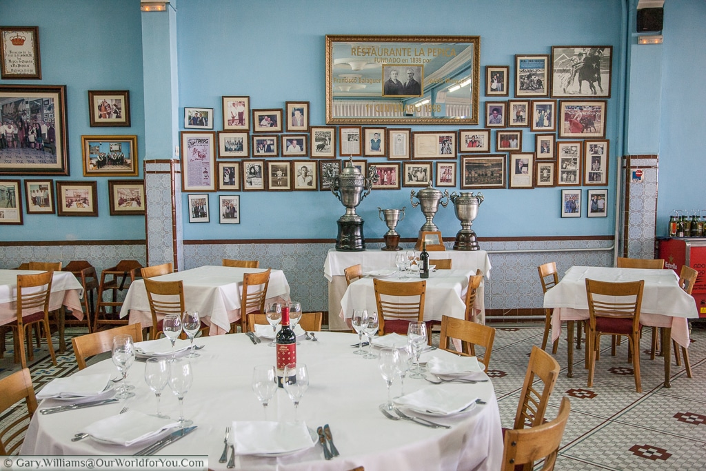 Inside La Pepica which is very proud of all its awards, Valencia, Spain