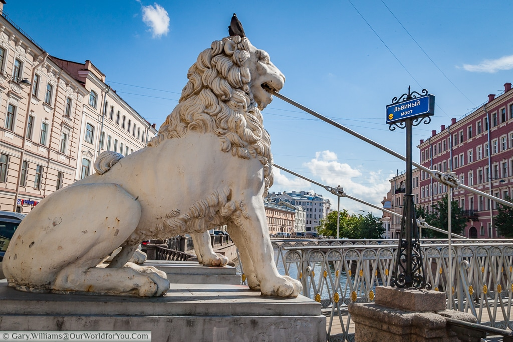 The Lion Bridge over the Griboedov Canal in St Petersburg, Russia