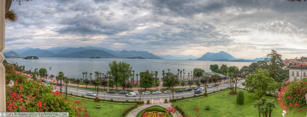 The view from Regina Palace Hotel, Stresa, of Lake Maggorie, Italy