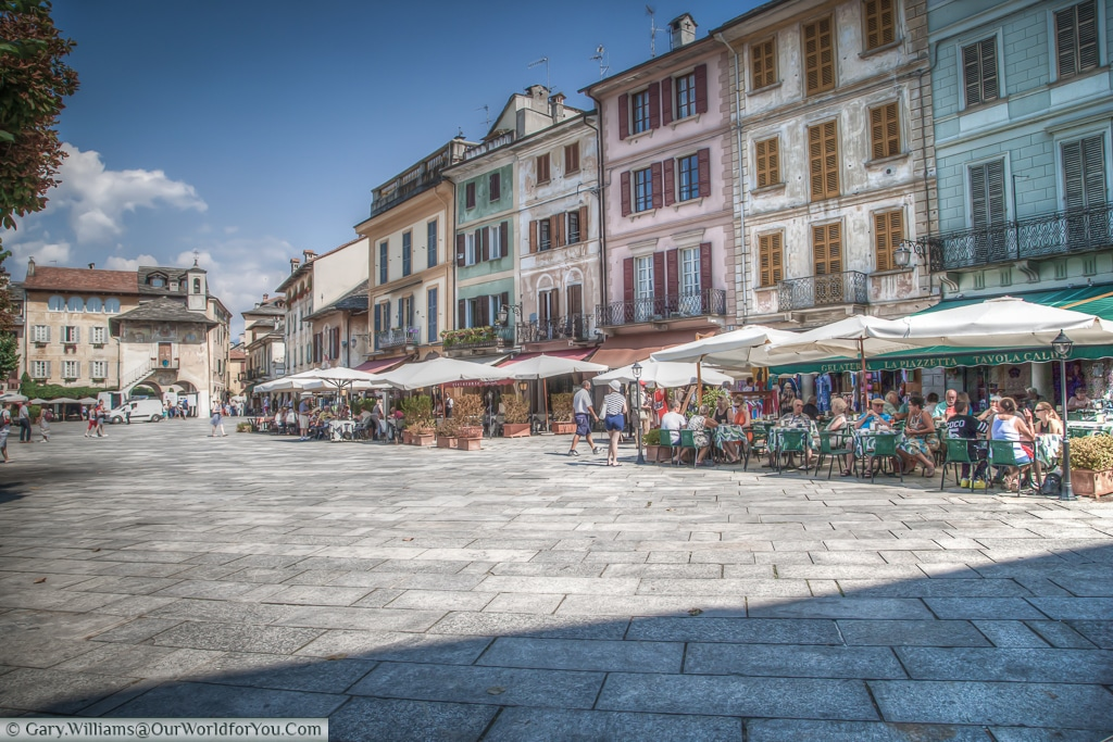 The Piazza Maria Motta, Orta San Giulio , Lake Orta, Italy