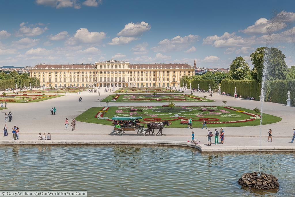 The view of the Schönbrunn Palace from the top of the Neptune Fountain, Vienna, Austria