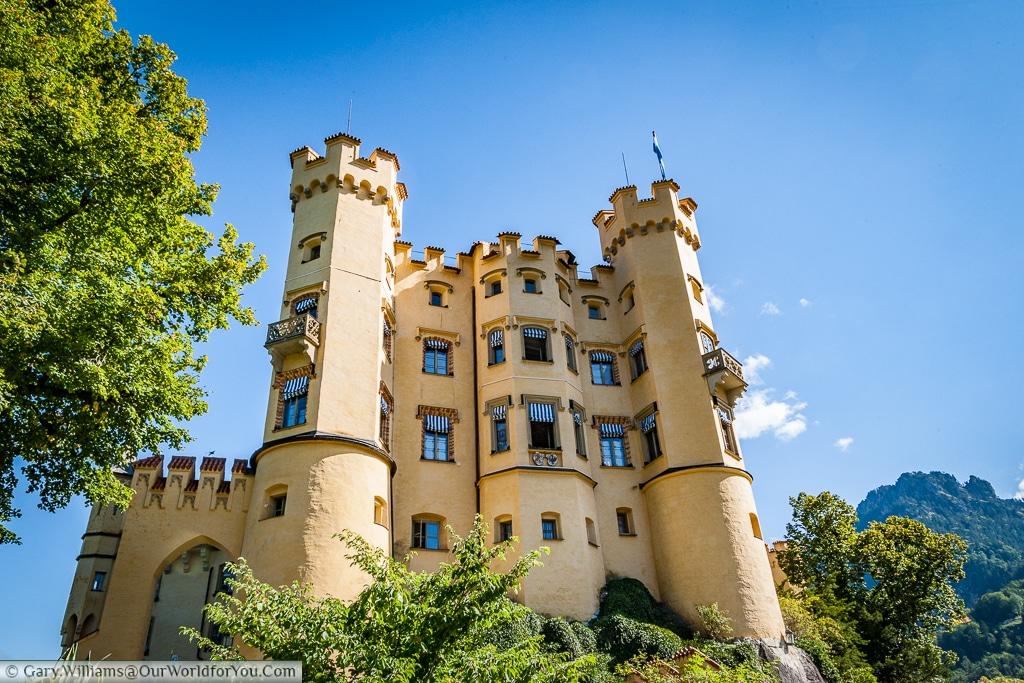 The side view of Schloss Hohenschwangau, Hohenschwangau, Bavaria, Germany
