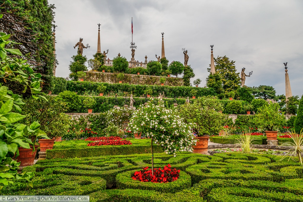 The terraced gardens at Isola Bella, Lake Maggiore, Italy