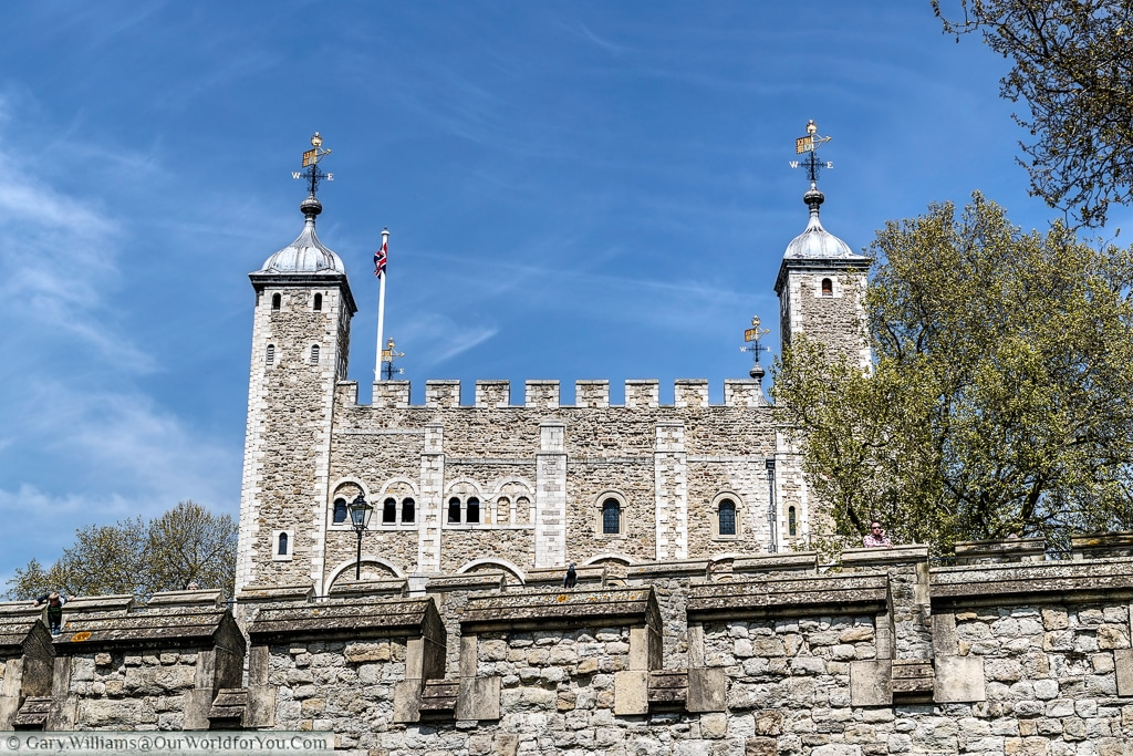 The view of the Tower of London, which site outside the City of London on it's eastern perimeter, London, England, UK