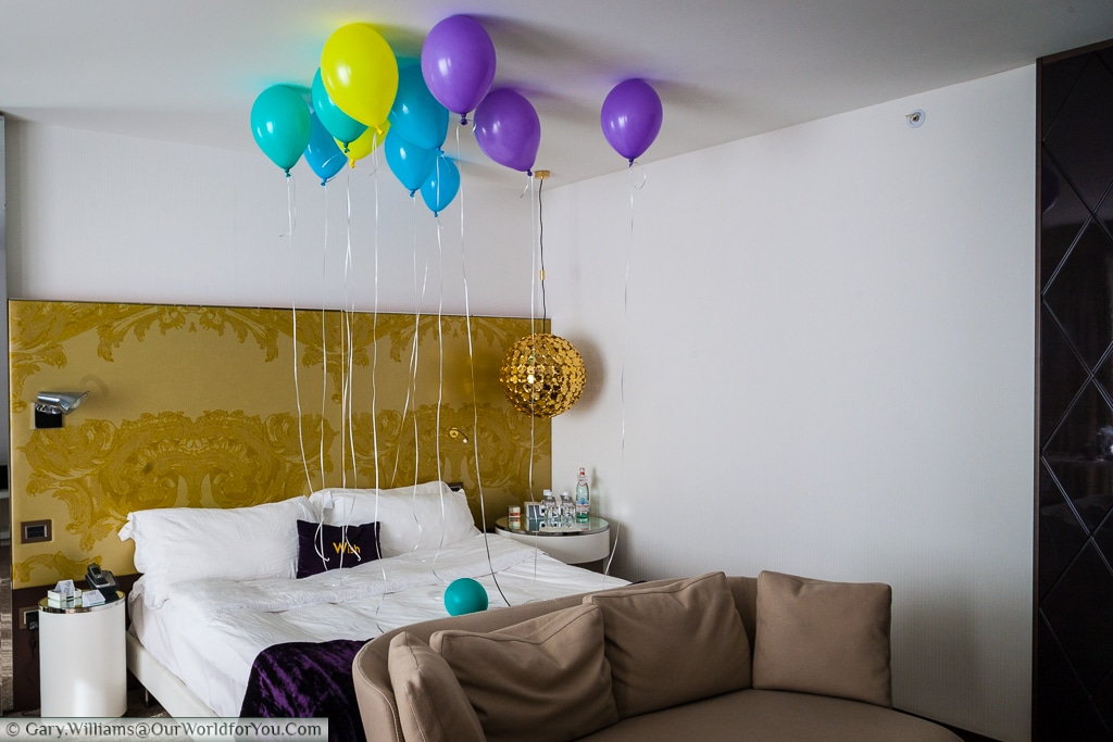 The W-Hotel decorated our room for Janis's birthday.