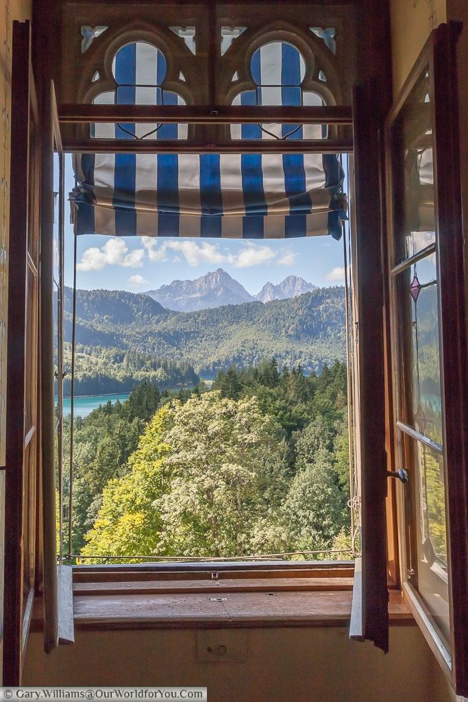 A view of Lake Alpsee from Schloss Hohenschwangau, Hohenschwangau, Bavaria, Germany