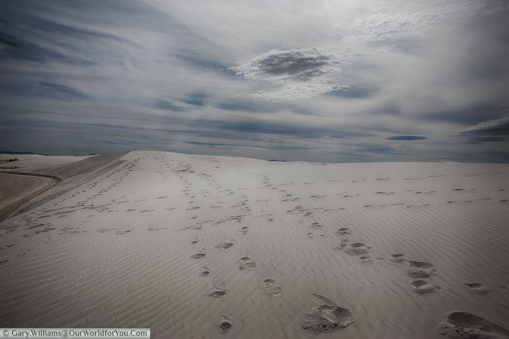 Footprints in the White Sands National Monument, New Mexico