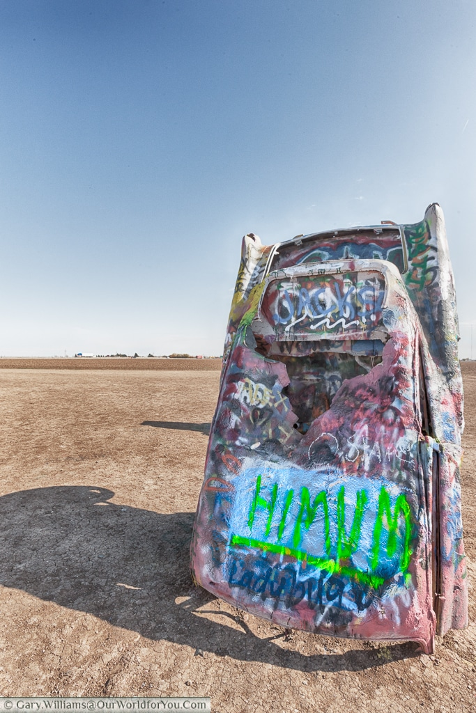 My effort to say Hi Mum at the Cadillac Ranch, Amarillo, Texas