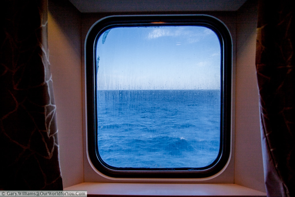 Porthole in the cabin on the Ferry to Santander, Spain