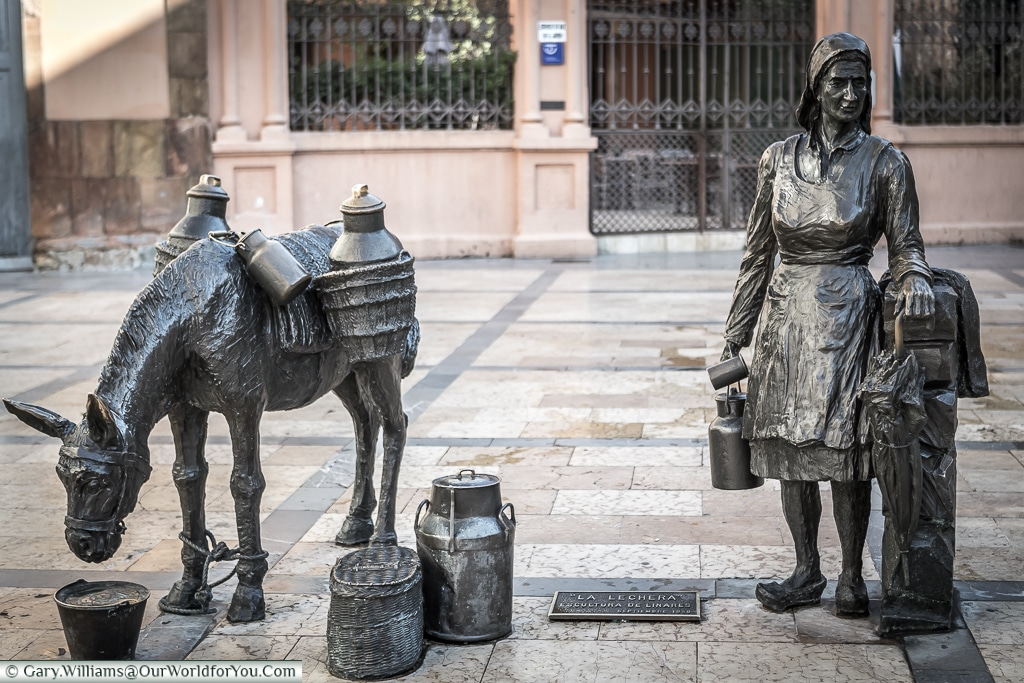 'La Lechera' a wonderful bronze detailing a milk seller and her faithful donkey, Oviedo, Spain