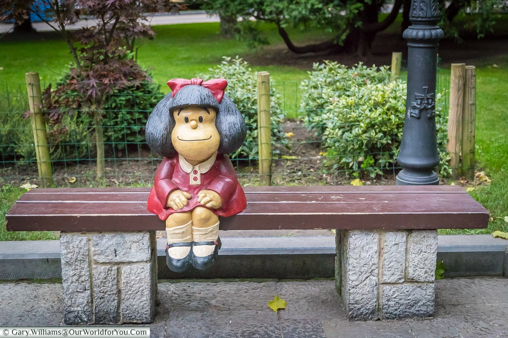 'Mafalda' is an Argentine comic strip character and this little figure is very popular with children, Oviedo, Spain