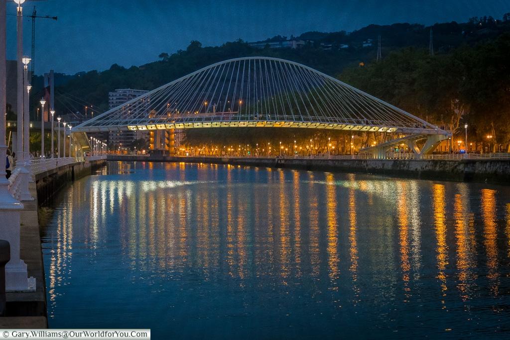 The Zubizuri at night, Bilbao, Spain