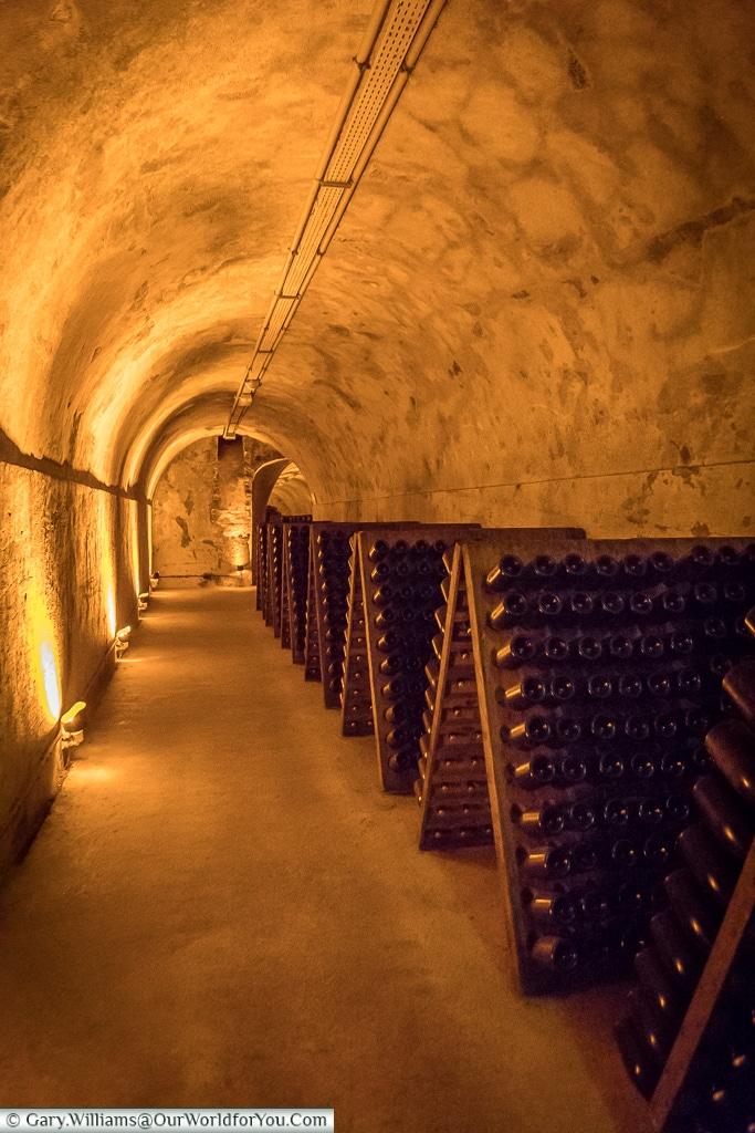 Deep inside the chalk, Reims, Champagne Region, France