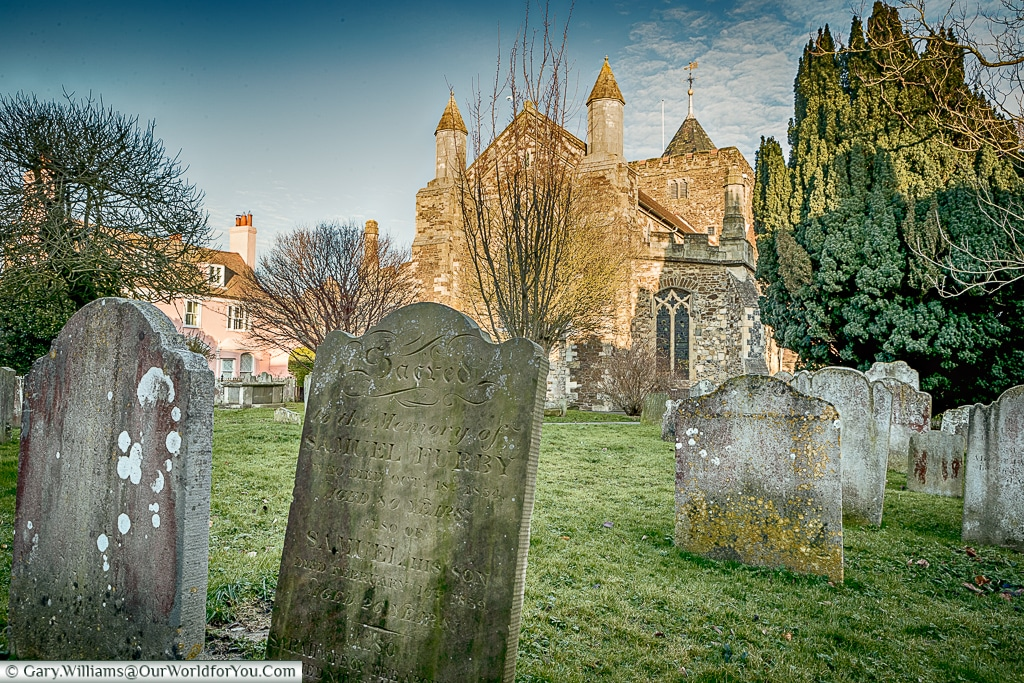 Over the graveyard to the church, Rye, East Sussex, England, UK