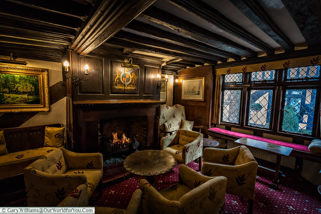 The lounge at the Mermaid Inn, Rye, East Sussex, England, UK
