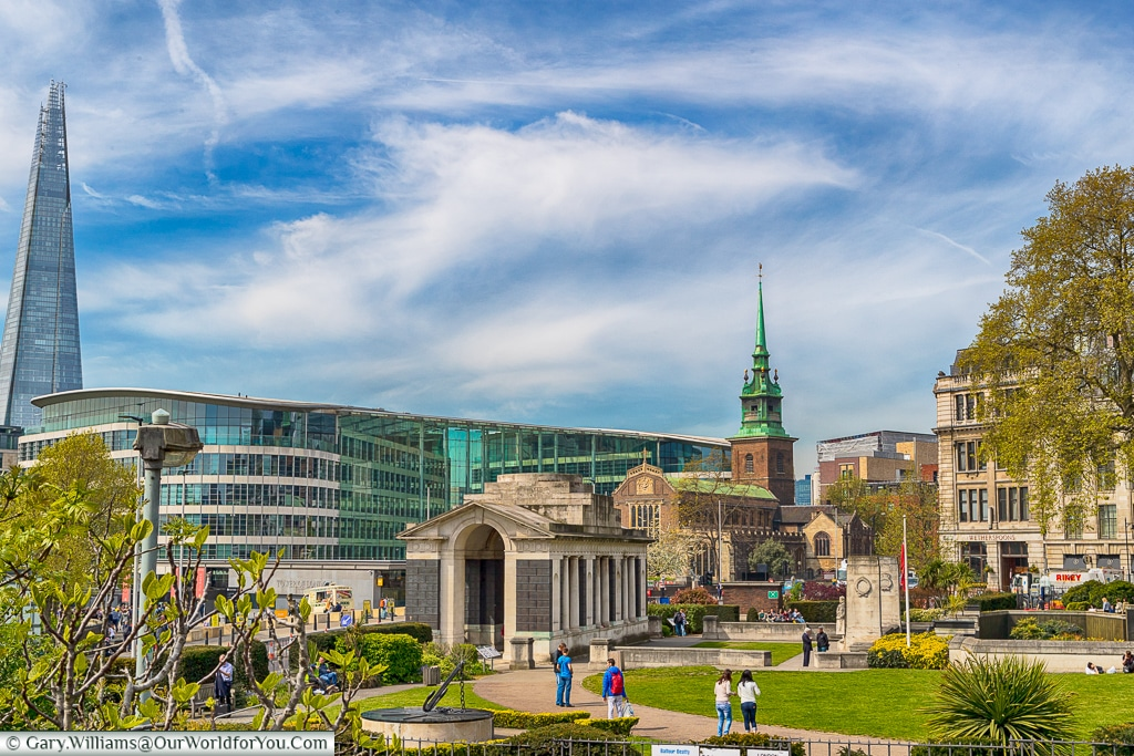 The view across Tower Hill Memorial and Trinity Square Gardens, London,