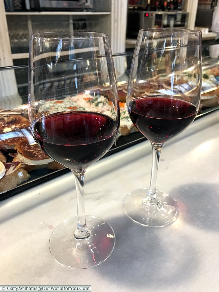 Two glasses of red wine at the Mercado del Este, Santander, Spain