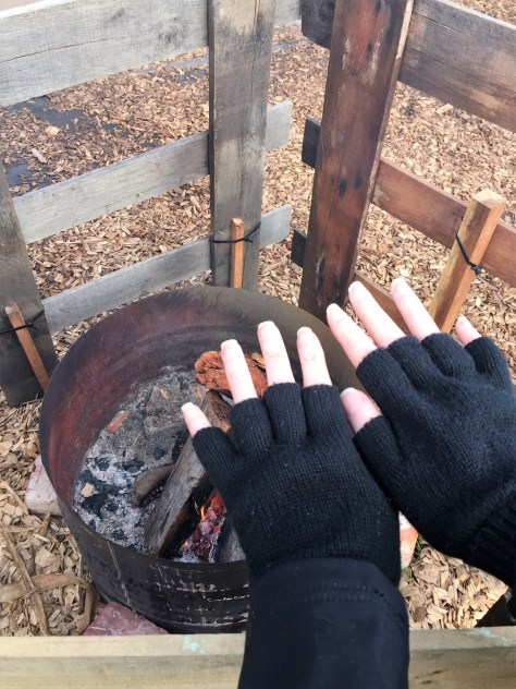 Warming your hands by the fire