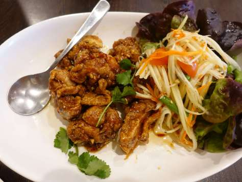 Thai Crispy Chicken with a Papaya salad