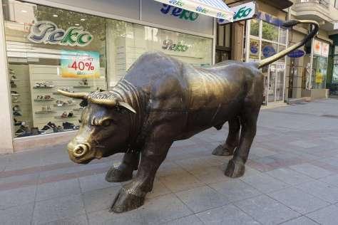 Where is Skopje's bronze bull?