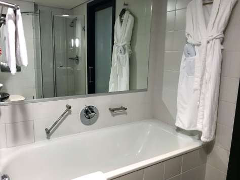 What are the bathrooms like at the Sheraton Tirana Hotel?