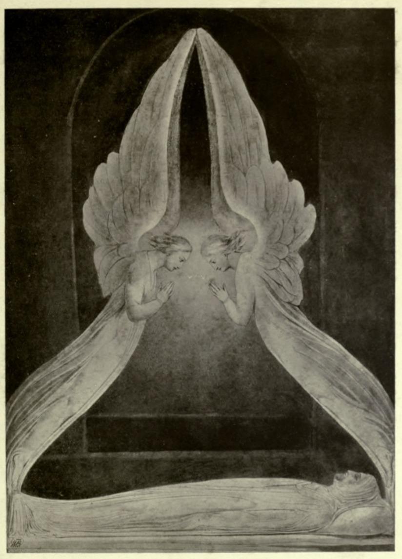 Ángeles que asoman sobre el cuerpo de Jesús (William Blake)