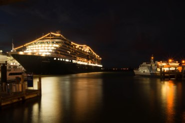Cruise liner anchored in Auckland's Viaduct.