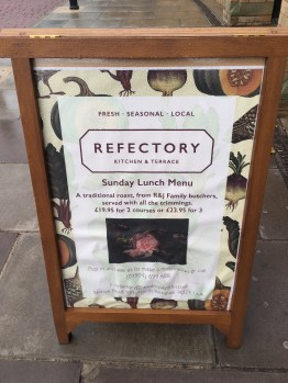 The Refectory York Sunday lunch menu