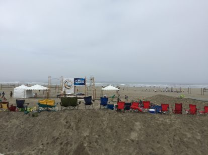 Misty day for volleyball in Seaside