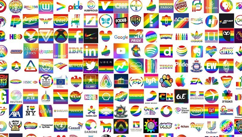 Corporate logos all in rainbow for Pride month