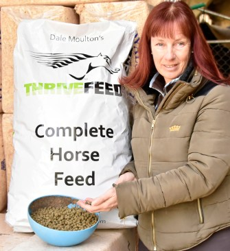 """A sack of Thrive Feed lasts Alfie a week, and his ration is divided into three feeds: he has it dampened with nothing added — that's the whole point! He also has ad lib hay and has eight hours turnout every other day in the winter, and in the summer sleeps out most nights"""""""