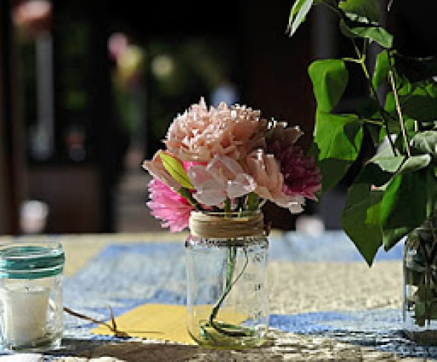 mason jars-paper flowers