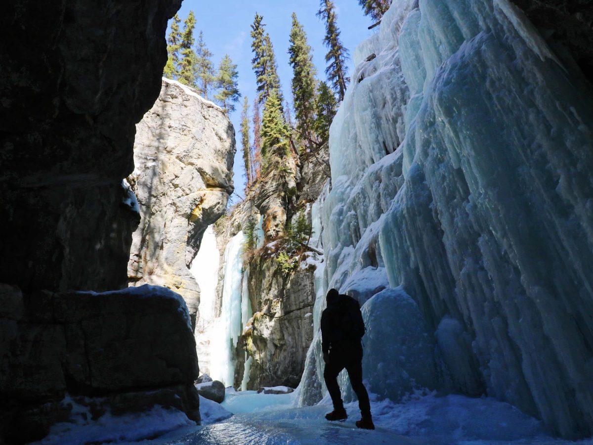 Maligne Canyon frozen waterfall in Jasper