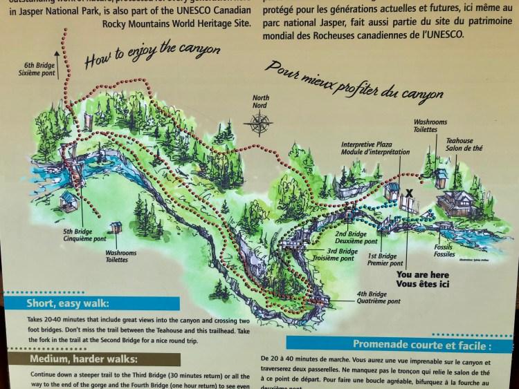 Maligne Canyon hike map at trailhead