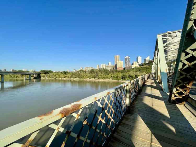 Biking in Edmonton over Low Level Bridge